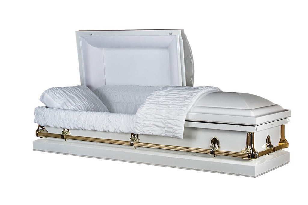 Princeton White - Glossy White Finish with White Crepe Interior- Metal Casket - Trusted Caskets