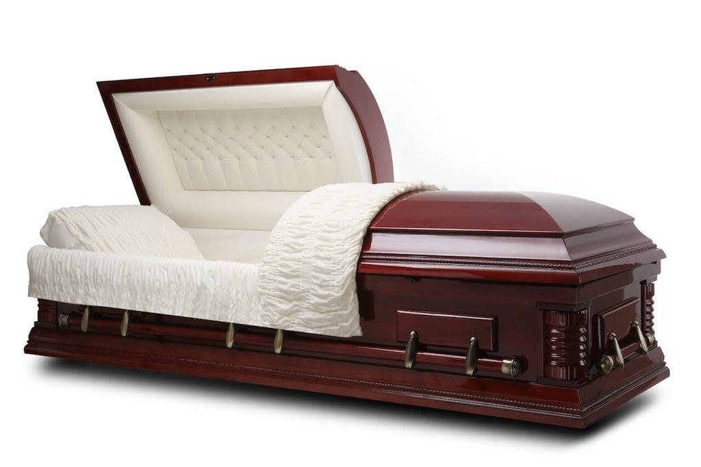 Roosevelt - Solid Poplar Wood Casket in Gloss Finish with Ivory Velvet Interior - Trusted Caskets