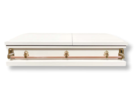 Sterling - White Casket with Pink Interior - Trusted Caskets
