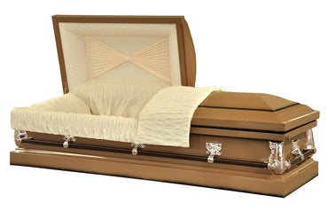 Twilight Copper- Metal Casket in Gloss Copper Finish with Rose Tan Crepe Interior - Trusted Caskets