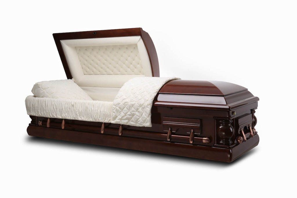 Washington - Cherry veneer Wood Casket in Gloss Finish with Ivory Velvet Interior - Trusted Caskets