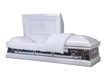 White Gold Casket - 18 Gauge Metal Casket in White Shaded Light Pink Finish with White Velvet Interior - Trusted Caskets