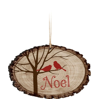 Noel Cardnial Tree Bark Ornament