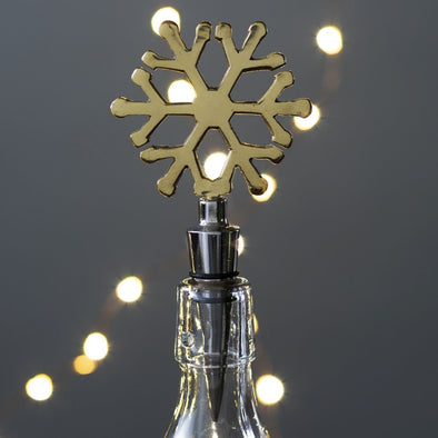 Brass snowflake wine stopper - Opal and Olive