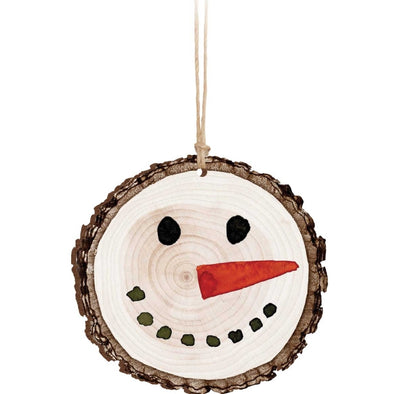 Snowman Log Ornament