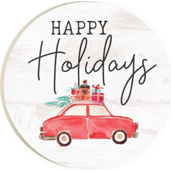 Happy Holidays Car Coaster