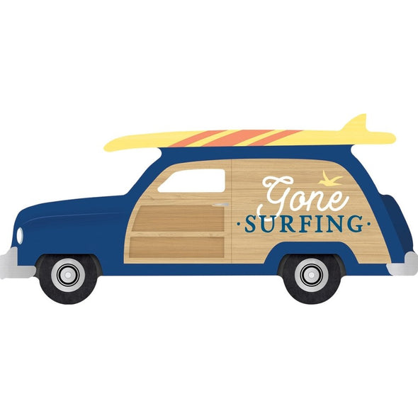 Gone Surfing Station Wagon Wood Block