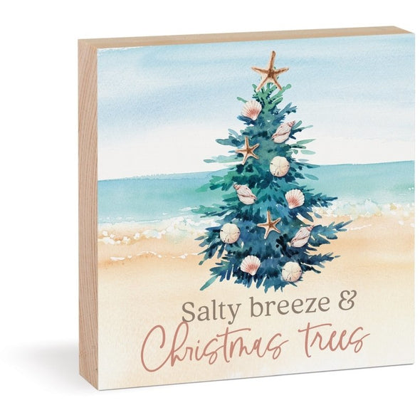 Salty Breeze & Christmas Trees Wood Block