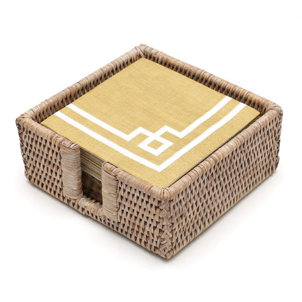 Rattan Cocktail Napkin Holder - White