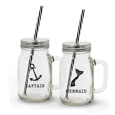 Boat Mugs w/Straw - S/2 - Opal and Olive