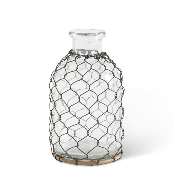 Glass Bottle w/Wire Mesh Netting