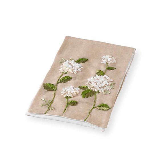 72 Inch Linen Table Runner w/Hydrangea Embroidery