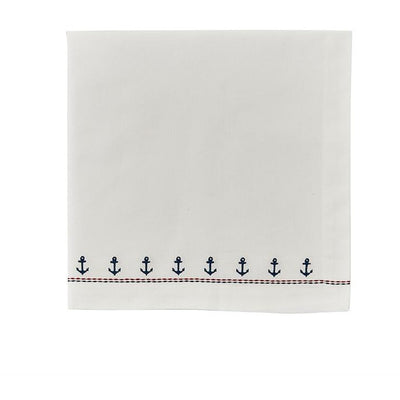 Embroidered Anchor Napkin - Opal and Olive