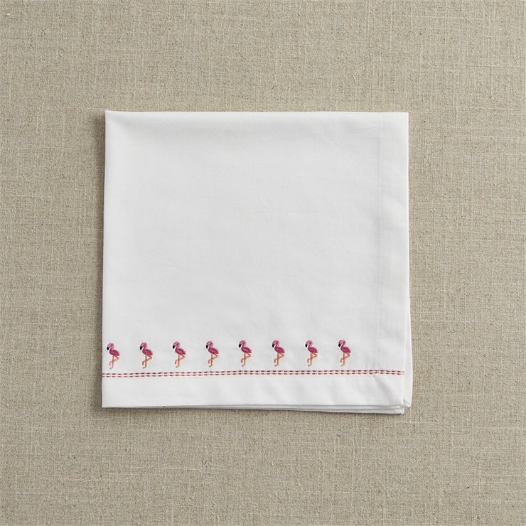 Embroidered Flamingo Napkin - Opal and Olive