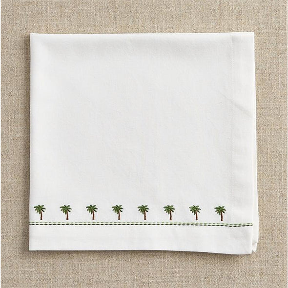 Embroidered Palm Napkin - Opal and Olive