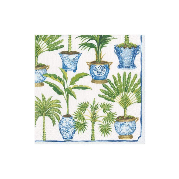 Cocktail Napkin - Potted Palms White