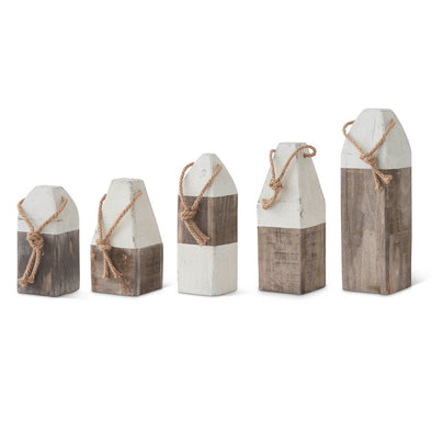 Gray and White Wooden Buoys