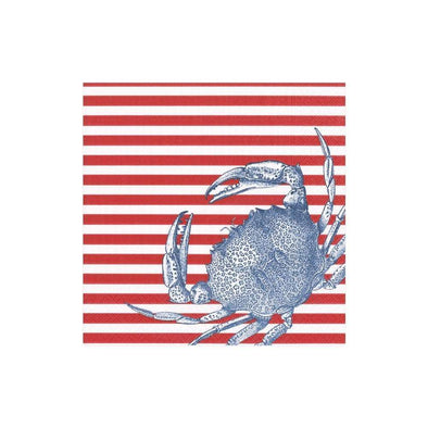 Cocktail Napkin - Crabs And Stripes Red