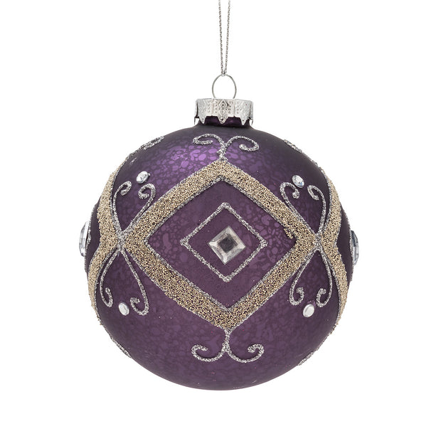 "Purple Gold Ball Ornament-4""D"