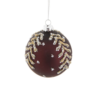 Burgundy w/Silver Ball Ornament 3""