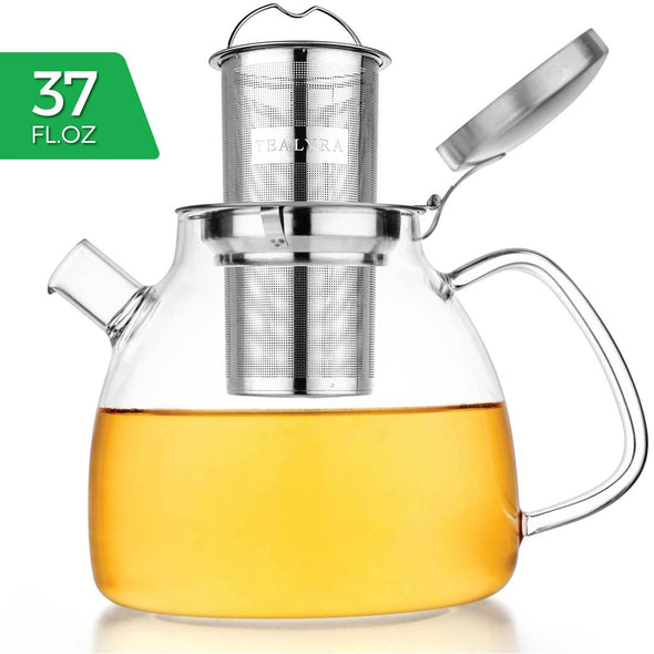 Lyra Glass Teapot Kettle 37 oz Stove Top Safe