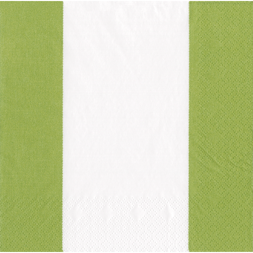 Cocktail Napkin - Bandol Stripe Moss Green - Opal and Olive