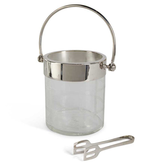 Etched Glass Ice Bucket w/Polished Silver Tongs