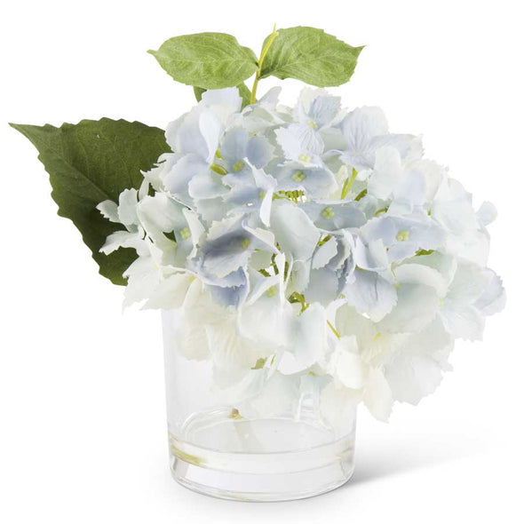 "9"" Blue Real Touch Hydrangea in Glass Vase"