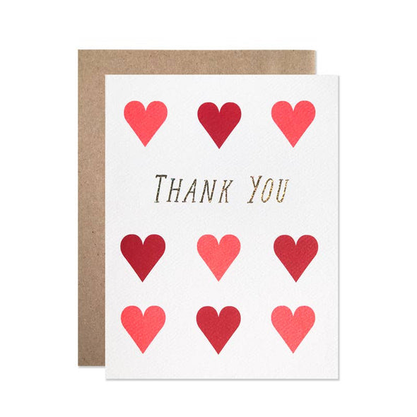 Thank You Large Hearts Card