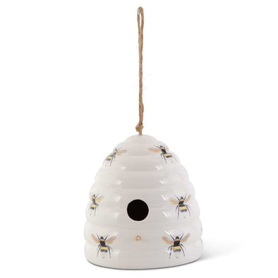 White Ceramic Beehive Birdhouse 7.5""