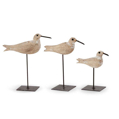 Whitewashed Wood Seagulls on Metal Spindle
