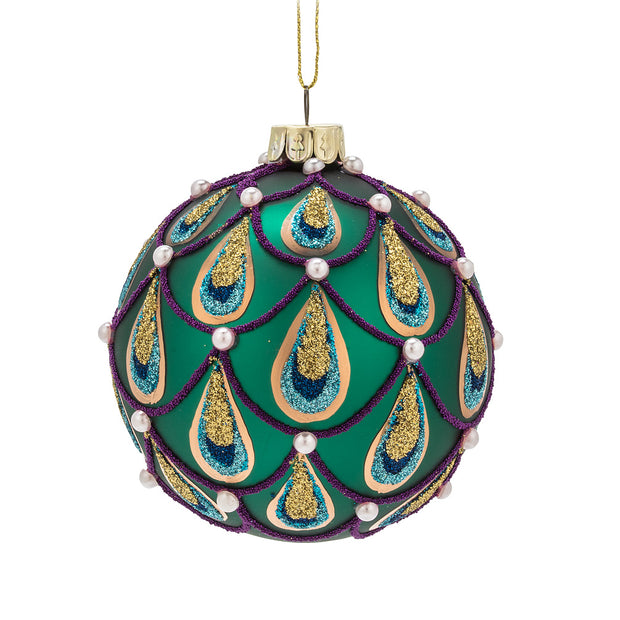 "Turquoise Peacock Ball Ornament 3""d"