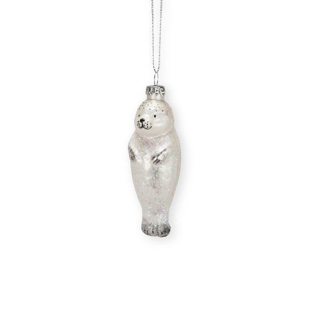 "White Seal Pup Ornament 4""h"