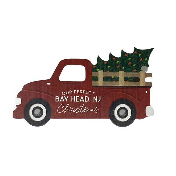 Our Perfect Christmas Red Truck Decorative Block
