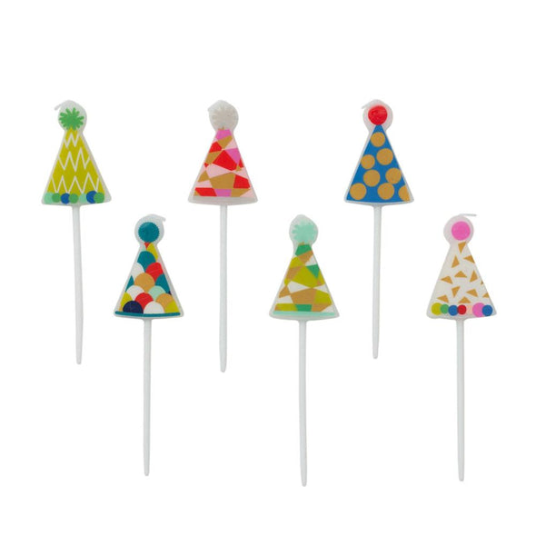Party Hats Shaped Candles - 6 pcs