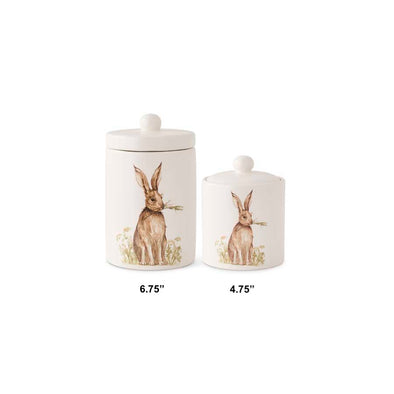 White Ceramic Lidded Container w/Bunny