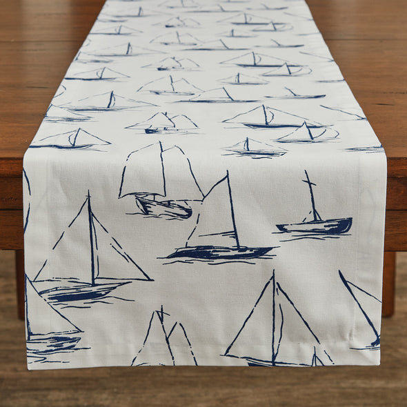 Sailboats Table Runner 15X72 - White