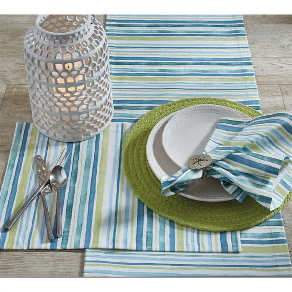 Gemma Stripe Table Runner 15x72 - Opal and Olive