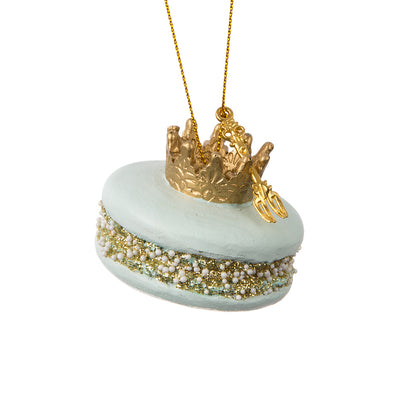 Macaron w/Crown Ornament - Blue