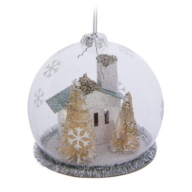 Blue House in Cloche Ornament