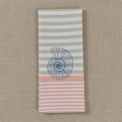 Embroidered Shell Dish Towel - Opal and Olive