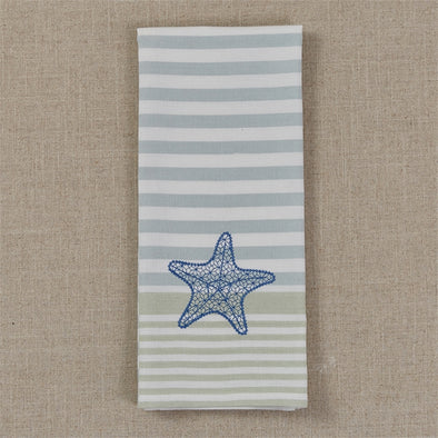 Embroidered Starfish Dish Towel - Opal and Olive