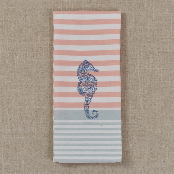 Embroidered Seahorse Dish Towel - Opal and Olive