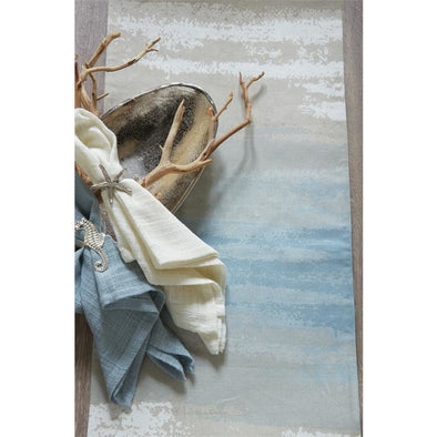 "Brushstroke Table Runner 13x60"" - Opal and Olive"