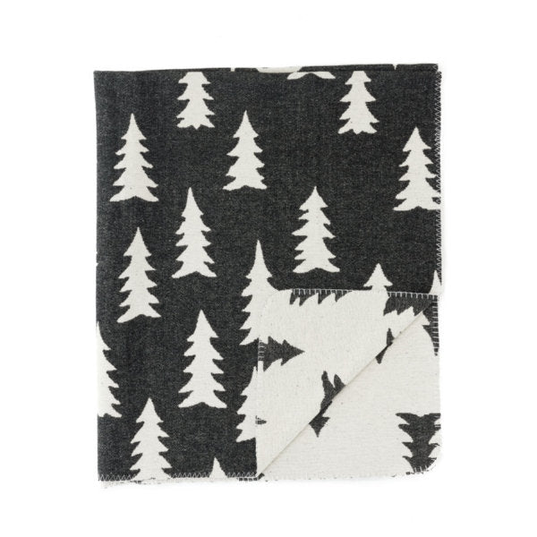 Black & White Tree Throw Blanket 50x60
