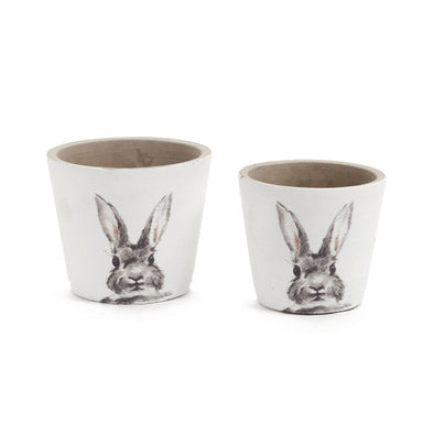 Cache Pot Rabbit Wht/gry 6d - Opal and Olive