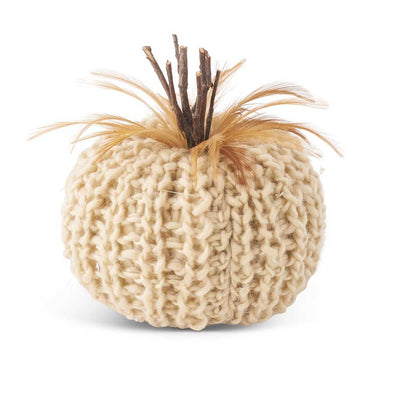 "Cream Crochet Pumpkin and Feathers 5"" - Opal and Olive"