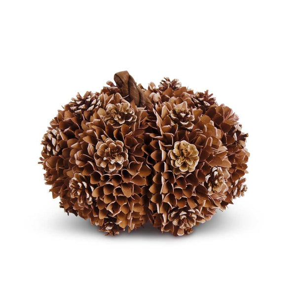 Brown Shaved Wood and Pinecone Pumpkin 9""