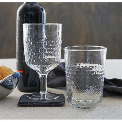 Textured Beverage Stem Glass - Clear