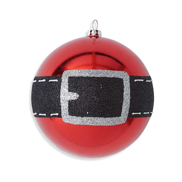 "Santa Belt Ornament 4"" Shatterproof"